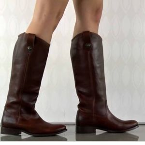 Frye Melissa Pull In Riding Boot In Cognac Brown